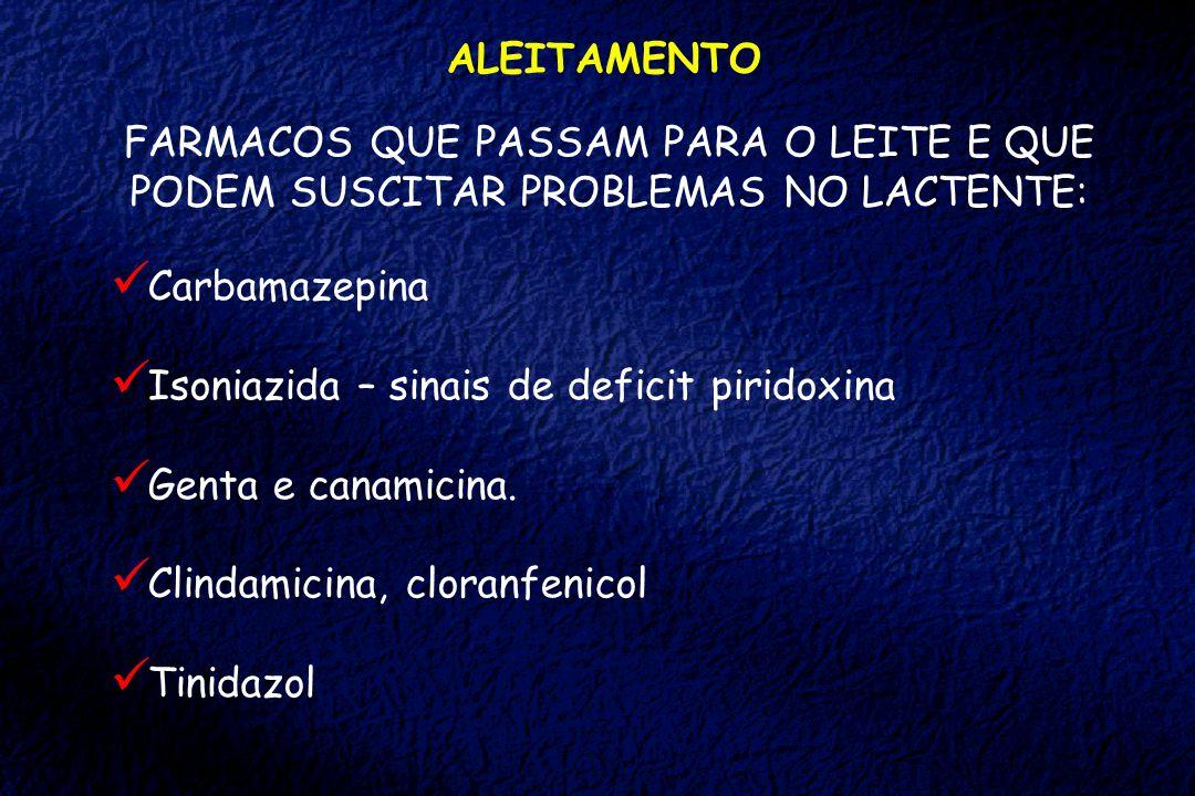 ALEITAMENTOFARMACOS QUE PASSAM PARA O LEITE E QUE PODEM SUSCITAR PROBLEMAS NO LACTENTE: Carbamazepina.