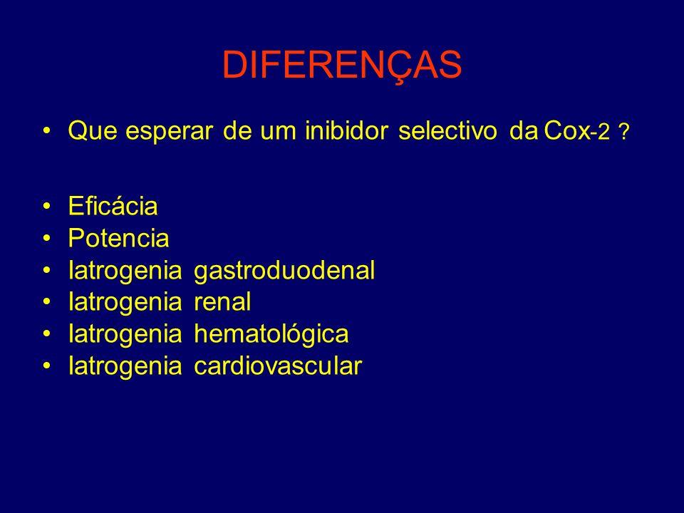 DIFERENÇAS Que esperar de um inibidor selectivo da Cox-2 Eficácia