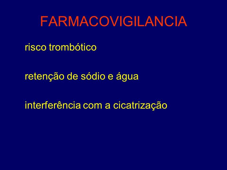 FARMACOVIGILANCIA risco trombótico retenção de sódio e água