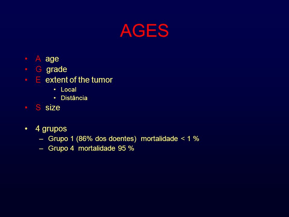 AGES A age G grade E extent of the tumor S size 4 grupos