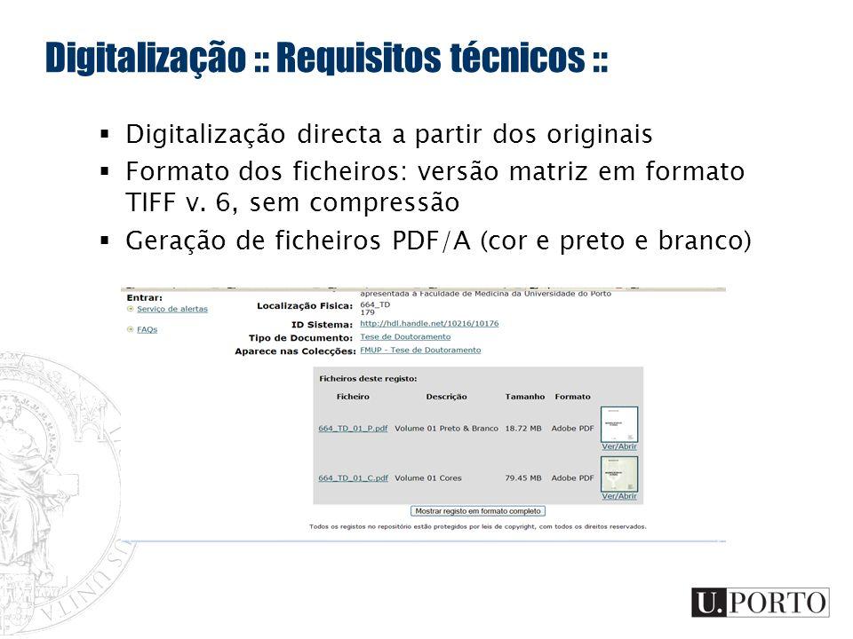 Digitalização :: Requisitos técnicos ::