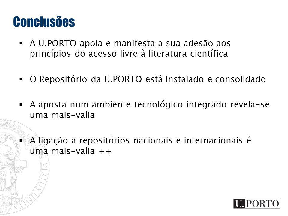 Conclusões A U.PORTO apoia e manifesta a sua adesão aos princípios do acesso livre à literatura científica.