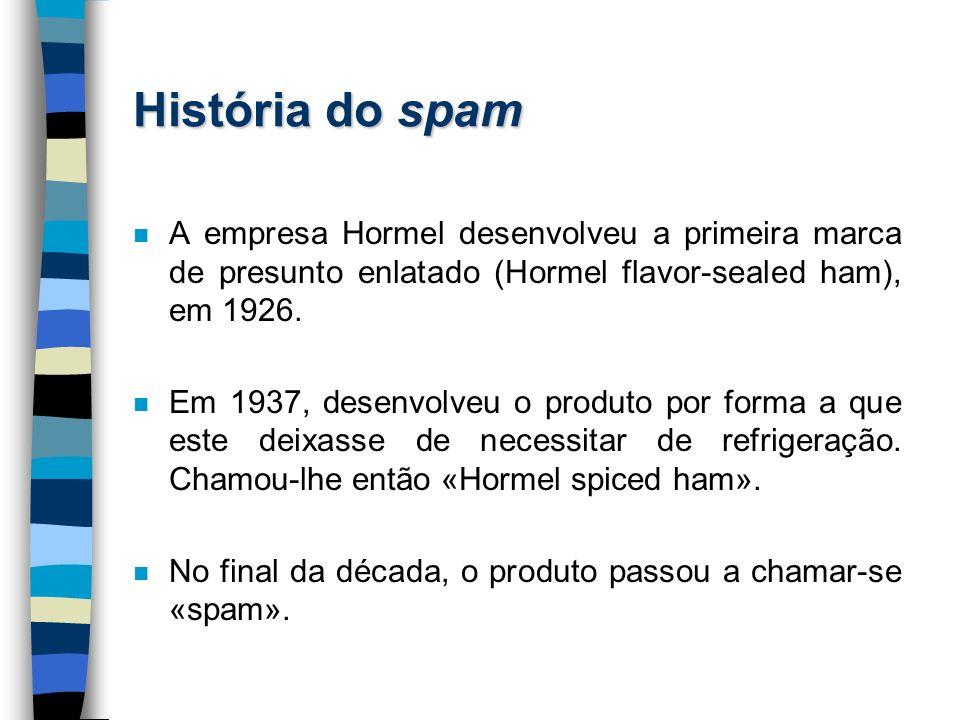 História do spam A empresa Hormel desenvolveu a primeira marca de presunto enlatado (Hormel flavor-sealed ham), em 1926.