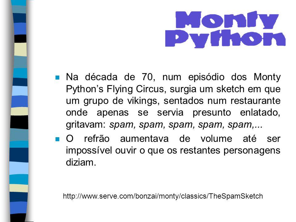 Na década de 70, num episódio dos Monty Python's Flying Circus, surgia um sketch em que um grupo de vikings, sentados num restaurante onde apenas se servia presunto enlatado, gritavam: spam, spam, spam, spam, spam,...