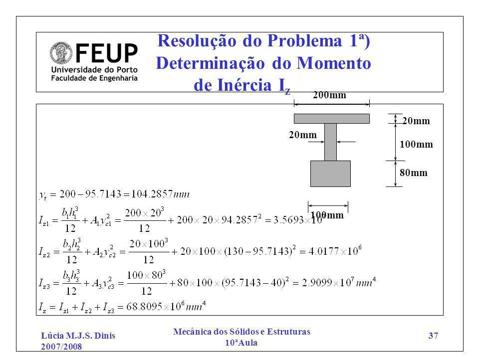 Resolução do Problema 1ª) Determinação do Momento de Inércia Iz