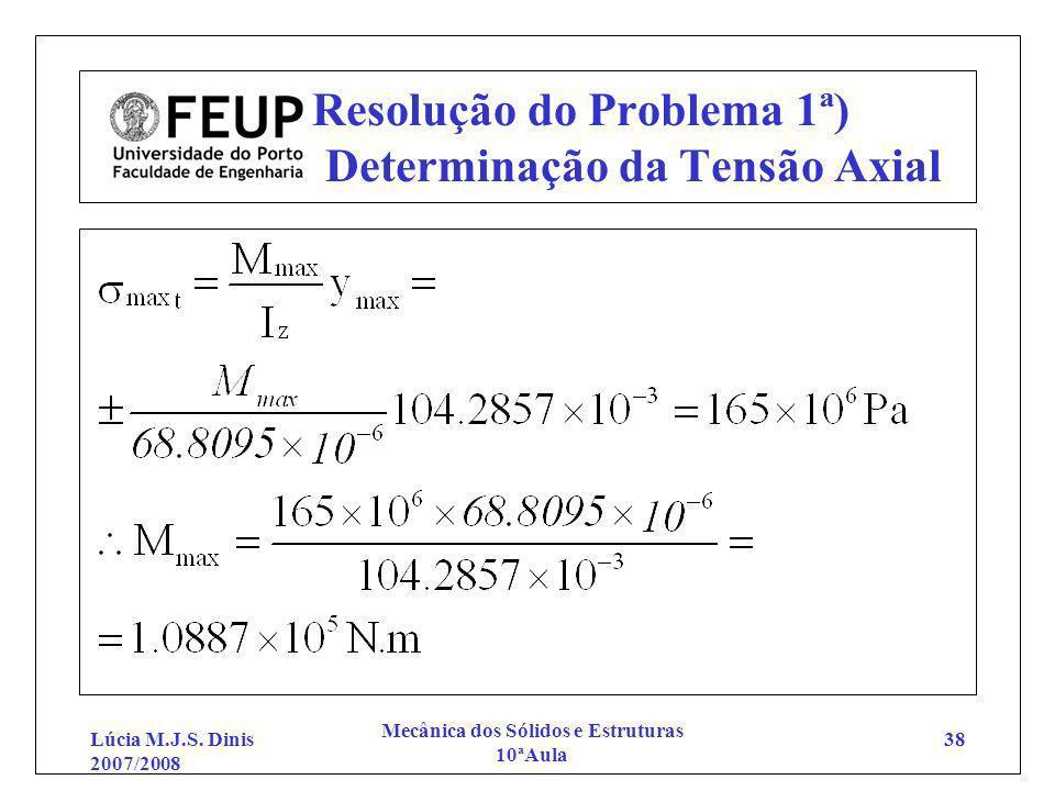 Resolução do Problema 1ª) Determinação da Tensão Axial