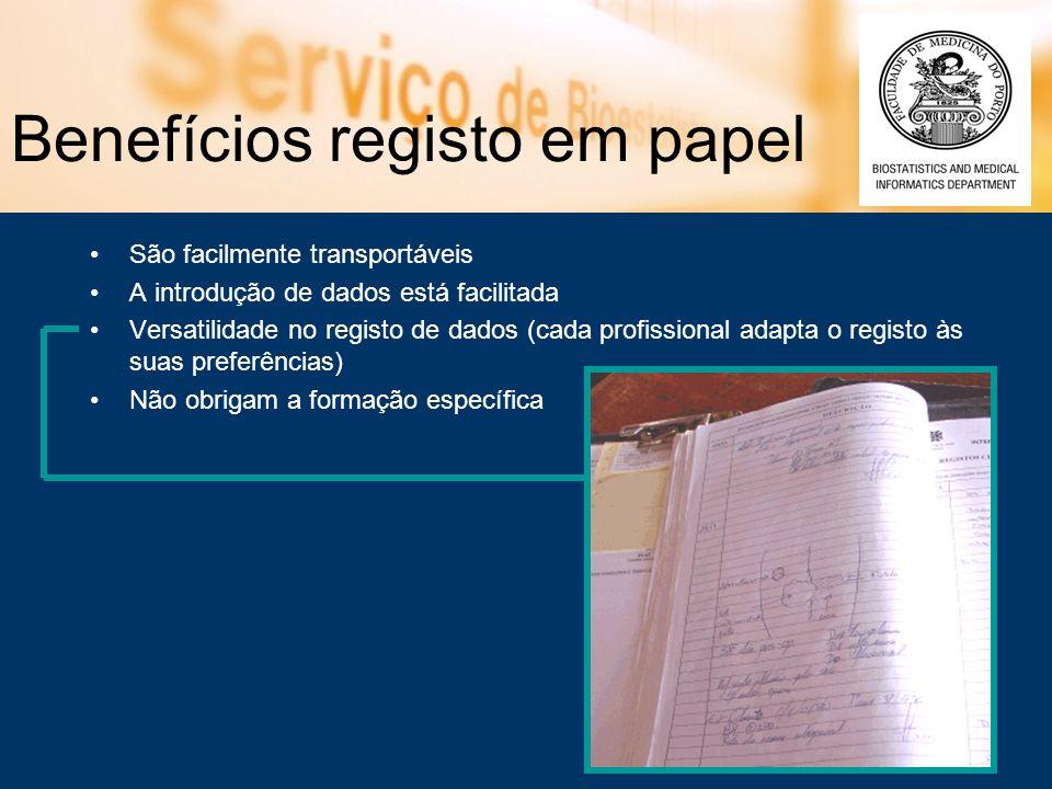 Benefícios registo em papel