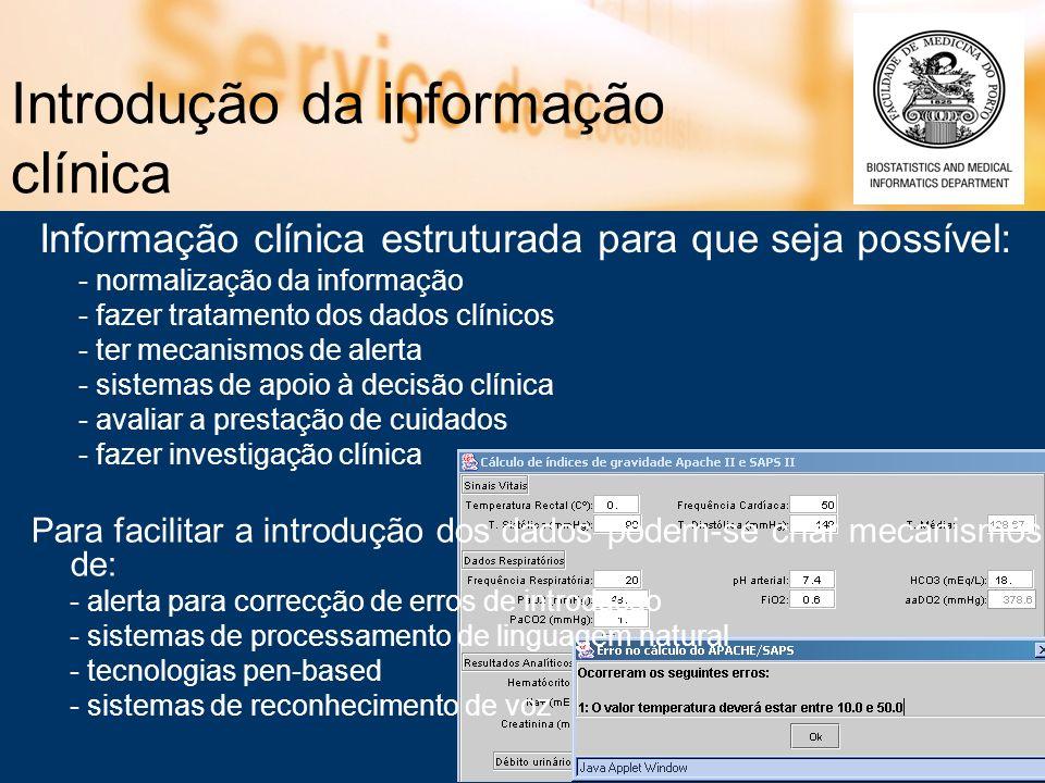 Introdução da informação clínica