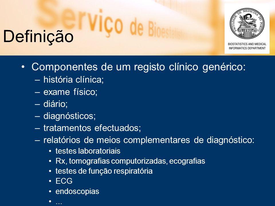 Definição Componentes de um registo clínico genérico: