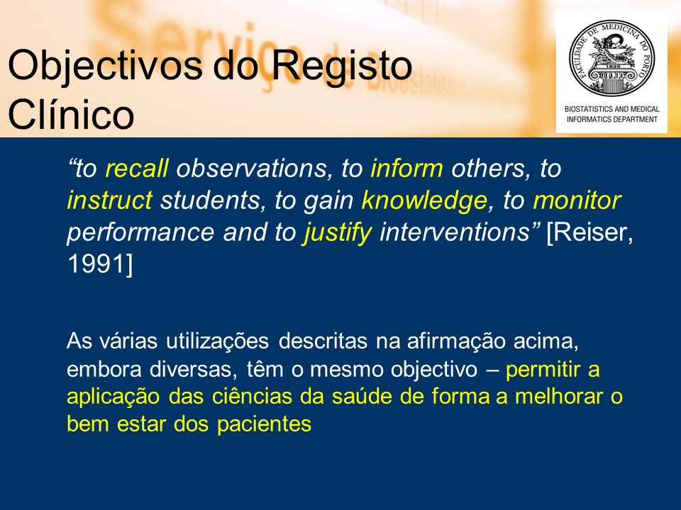 Objectivos do Registo Clínico