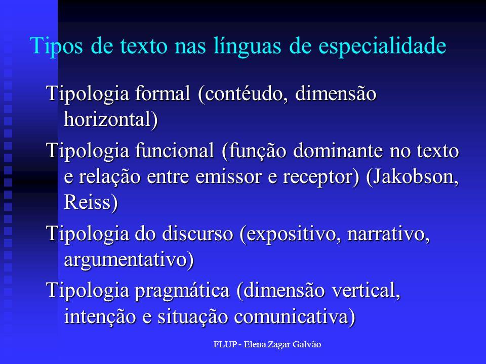 Tipos de texto nas línguas de especialidade