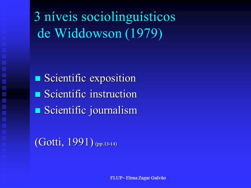3 níveis sociolinguísticos de Widdowson (1979)