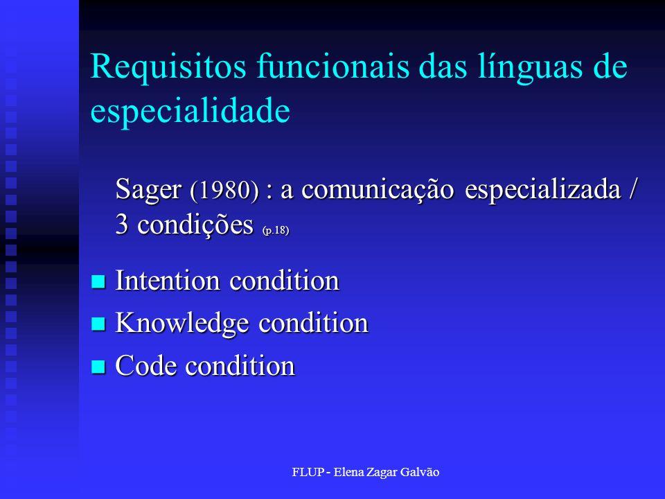 Requisitos funcionais das línguas de especialidade