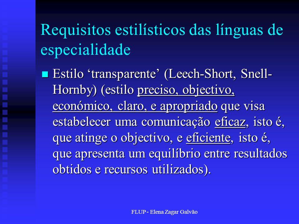 Requisitos estilísticos das línguas de especialidade