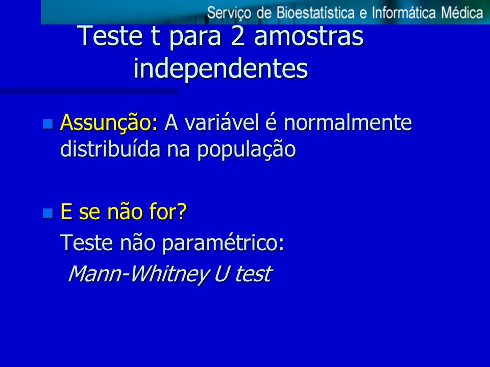 Teste t para 2 amostras independentes