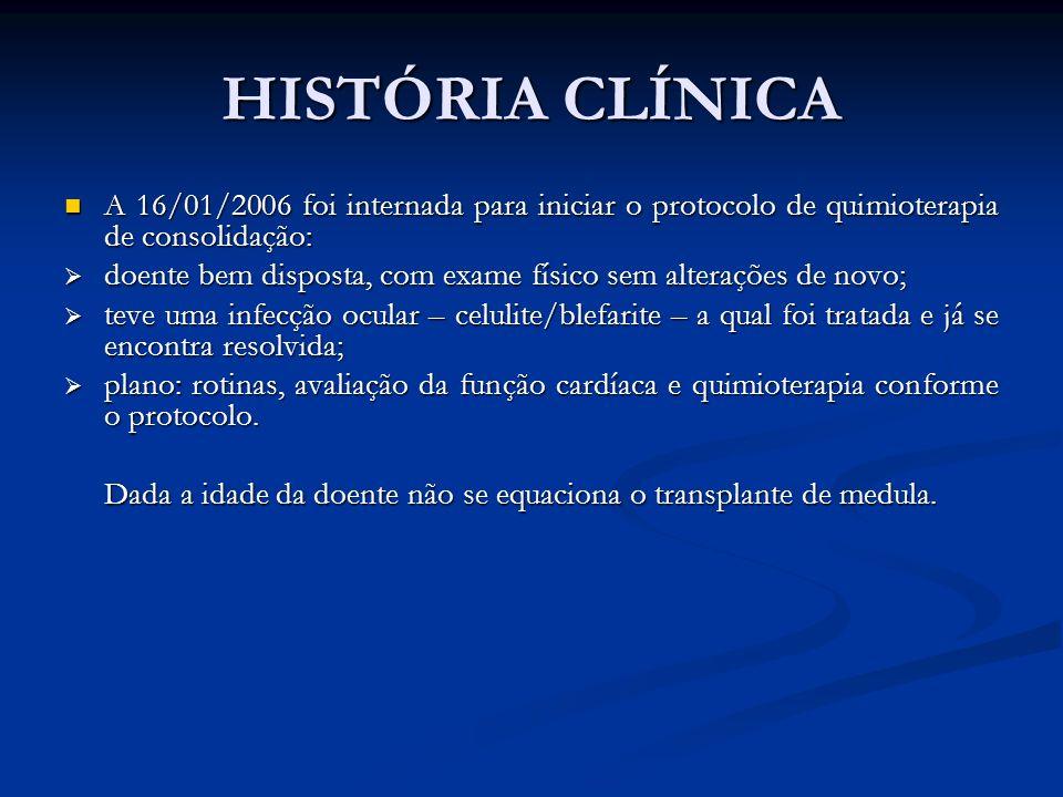 HISTÓRIA CLÍNICAA 16/01/2006 foi internada para iniciar o protocolo de quimioterapia de consolidação: