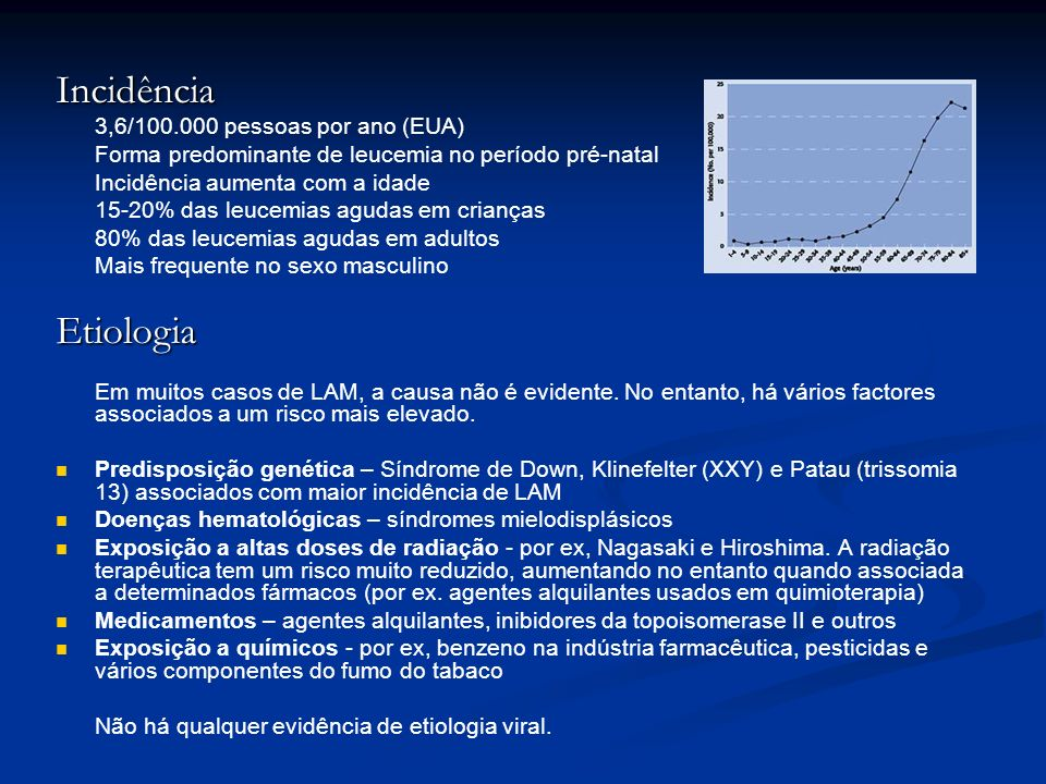Incidência Etiologia 3,6/100.000 pessoas por ano (EUA)