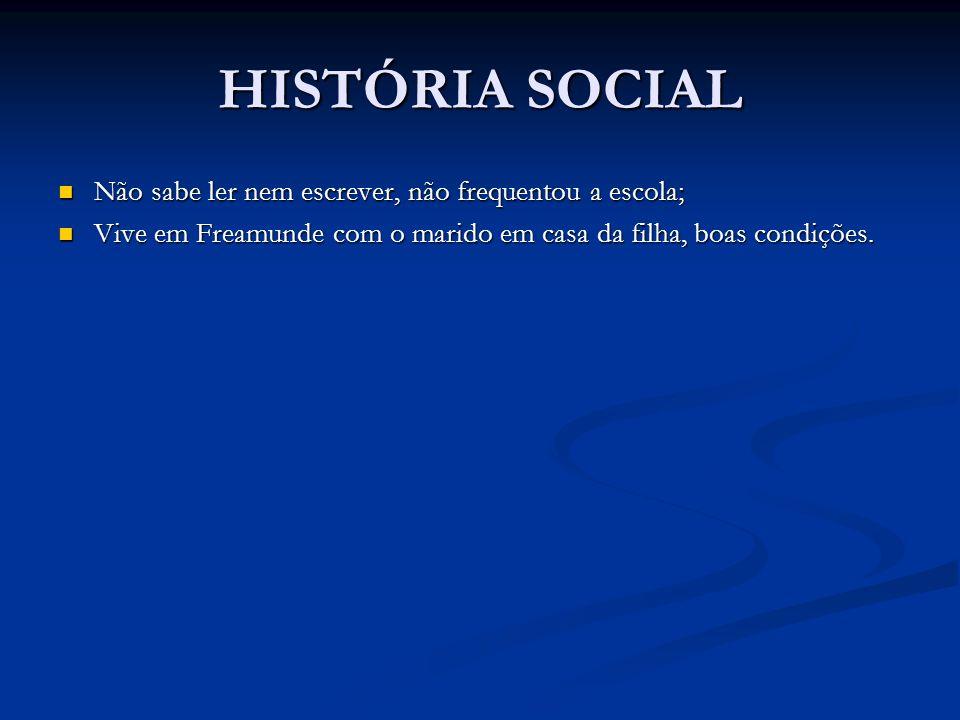 HISTÓRIA SOCIAL Não sabe ler nem escrever, não frequentou a escola;