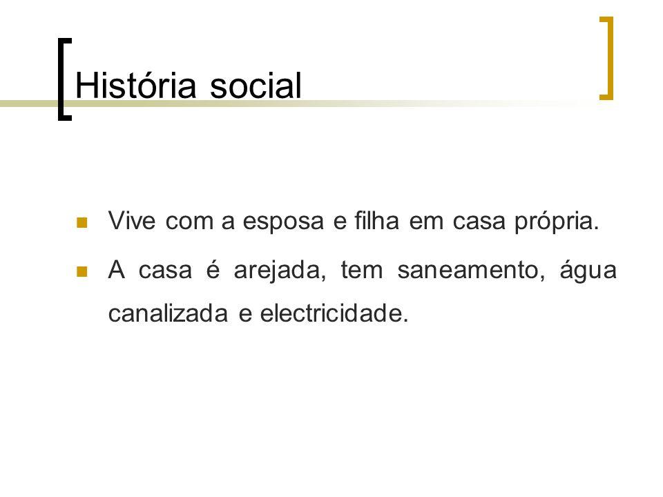 História social Vive com a esposa e filha em casa própria.
