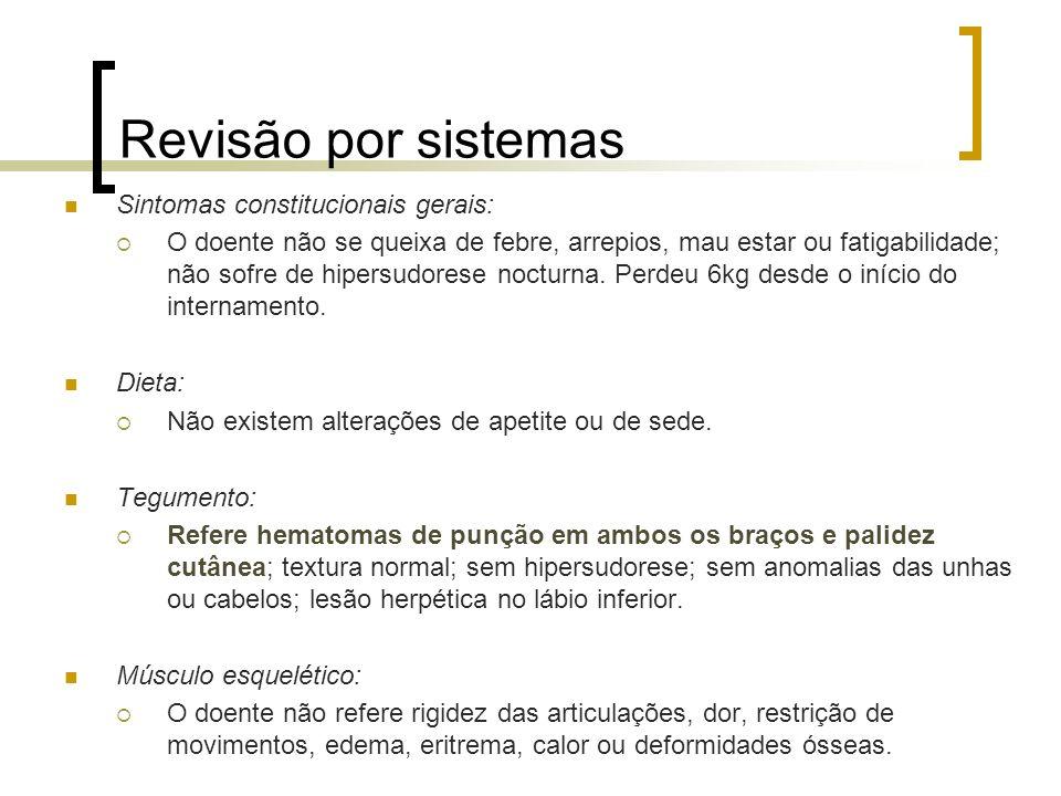 Revisão por sistemas Sintomas constitucionais gerais: