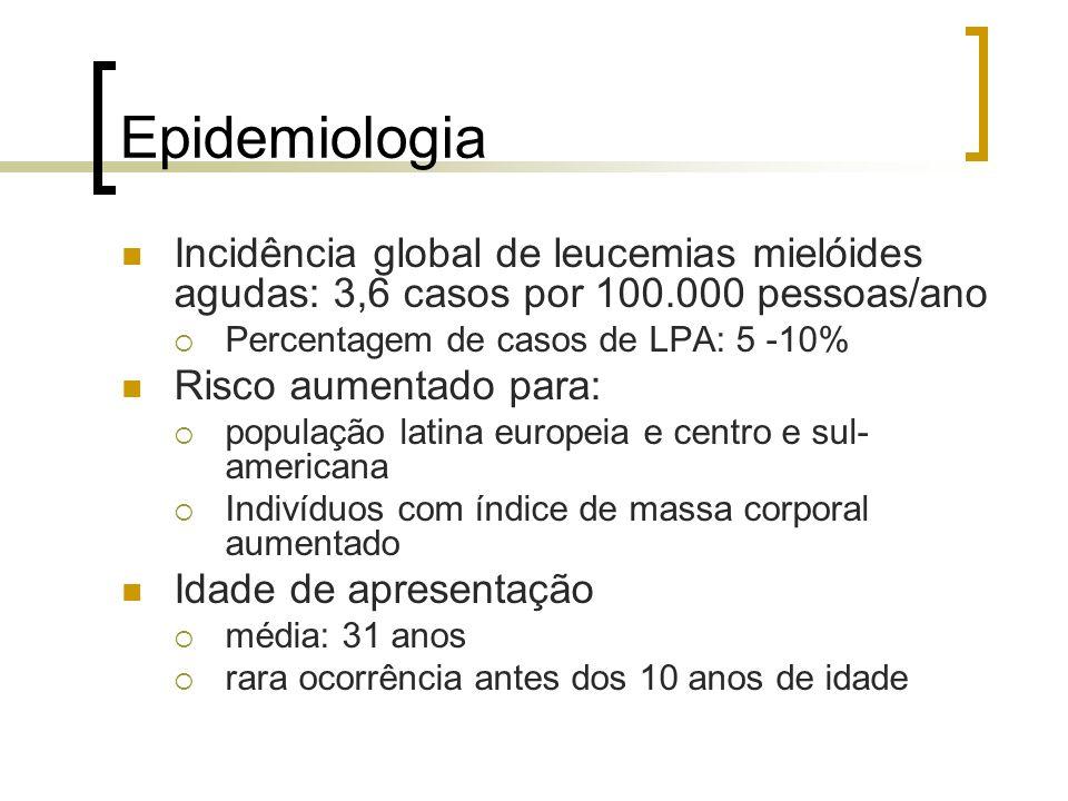 Epidemiologia Incidência global de leucemias mielóides agudas: 3,6 casos por 100.000 pessoas/ano. Percentagem de casos de LPA: 5 -10%