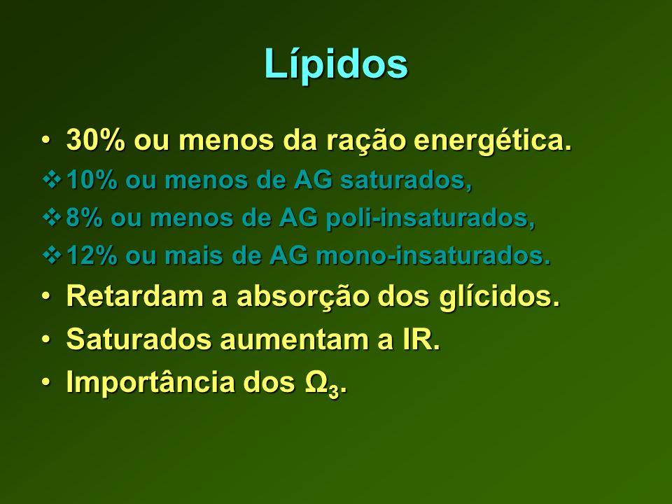 Lípidos 30% ou menos da ração energética.