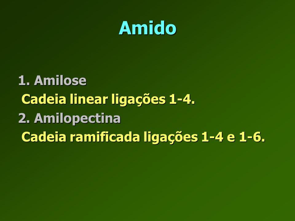 Amido 1. Amilose Cadeia linear ligações 1-4. 2. Amilopectina
