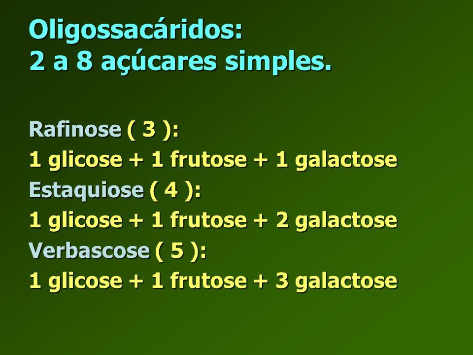 Oligossacáridos: 2 a 8 açúcares simples.