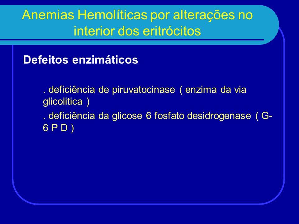 Anemias Hemolíticas por alterações no interior dos eritrócitos