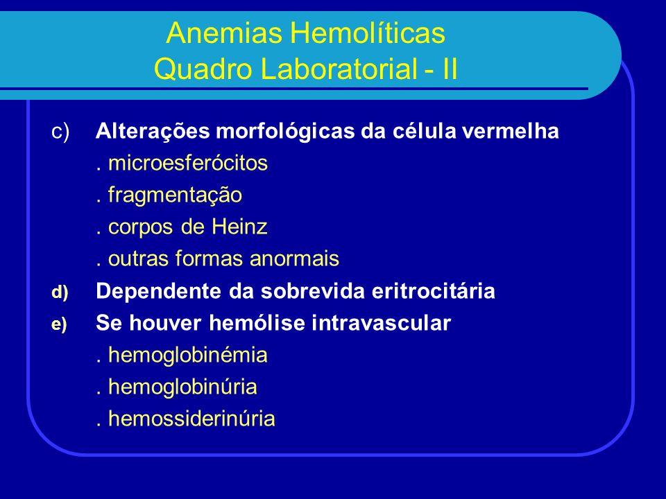Anemias Hemolíticas Quadro Laboratorial - II