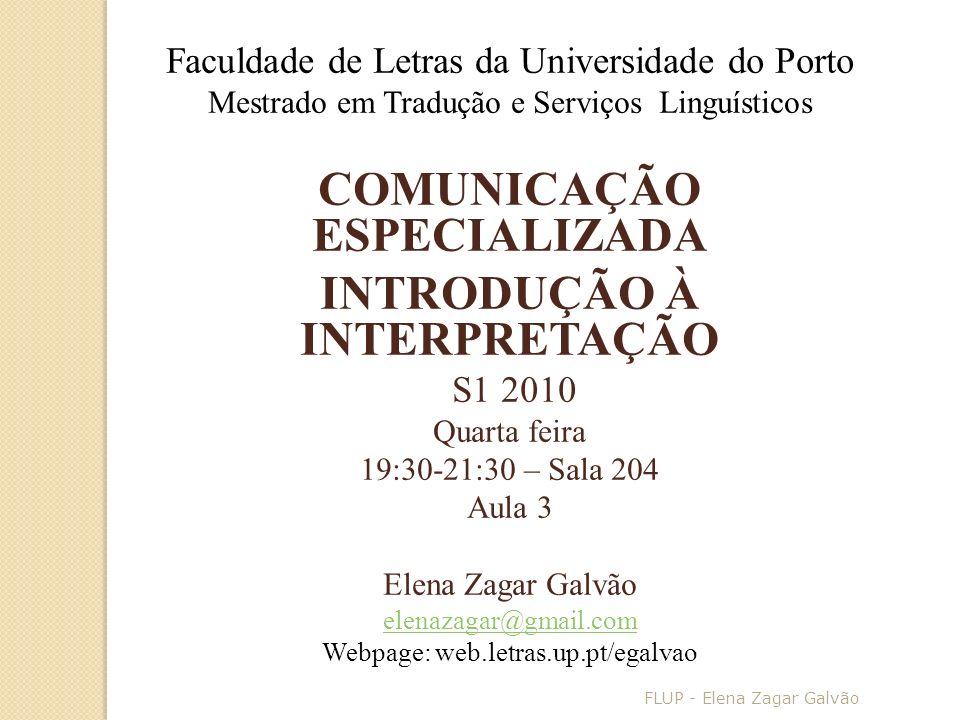 COMUNICAÇÃO ESPECIALIZADA INTRODUÇÃO À INTERPRETAÇÃO