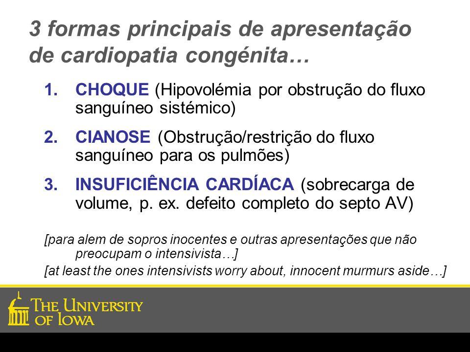 3 formas principais de apresentação de cardiopatia congénita…