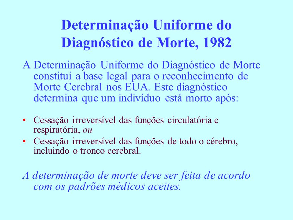 Determinação Uniforme do Diagnóstico de Morte, 1982