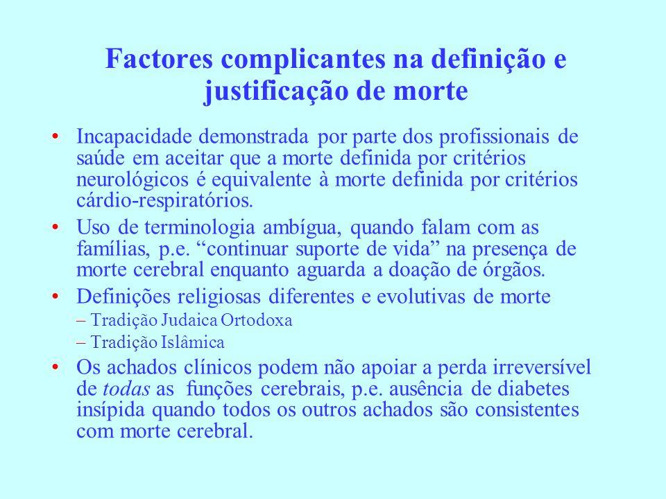 Factores complicantes na definição e justificação de morte