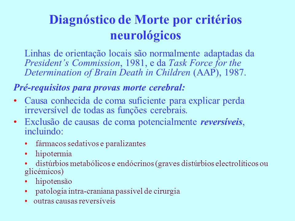 Diagnóstico de Morte por critérios neurológicos