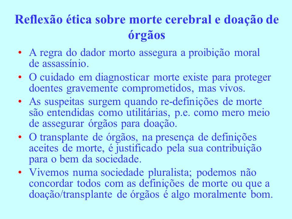 Reflexão ética sobre morte cerebral e doação de órgãos