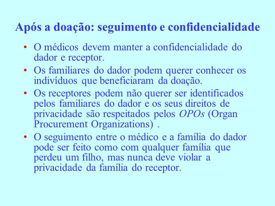 Após a doação: seguimento e confidencialidade