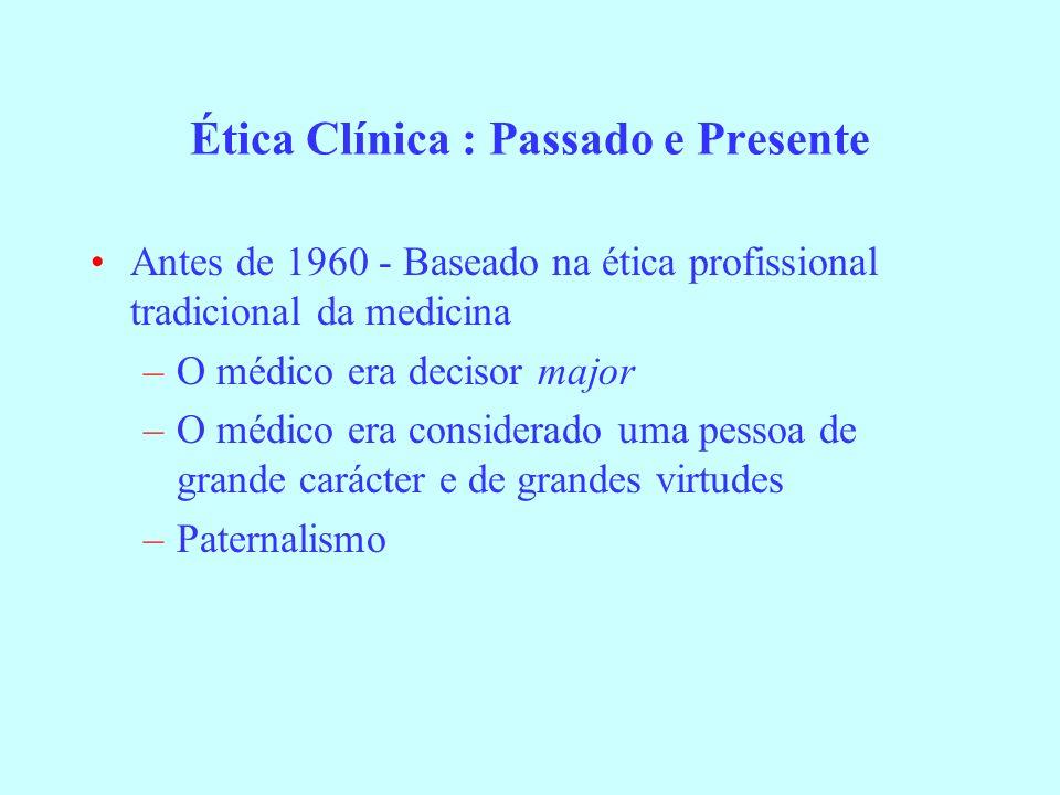 Ética Clínica : Passado e Presente