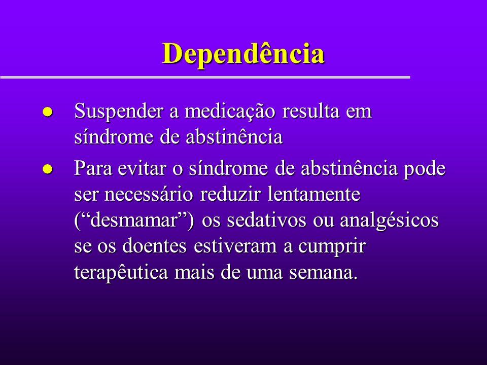 Dependência Suspender a medicação resulta em síndrome de abstinência