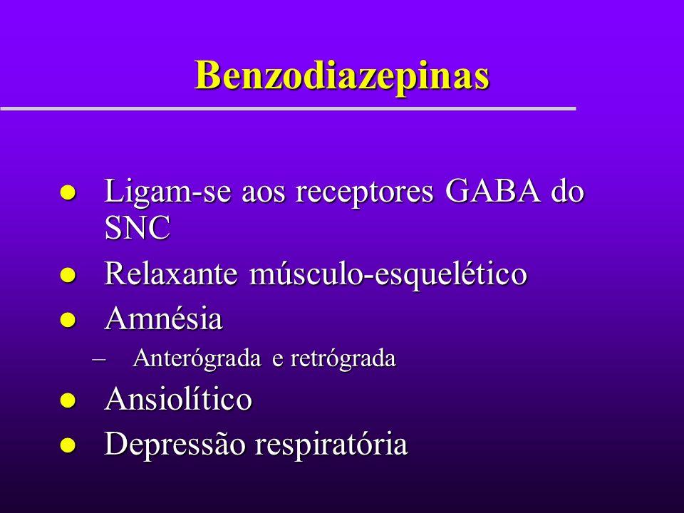 Benzodiazepinas Ligam-se aos receptores GABA do SNC