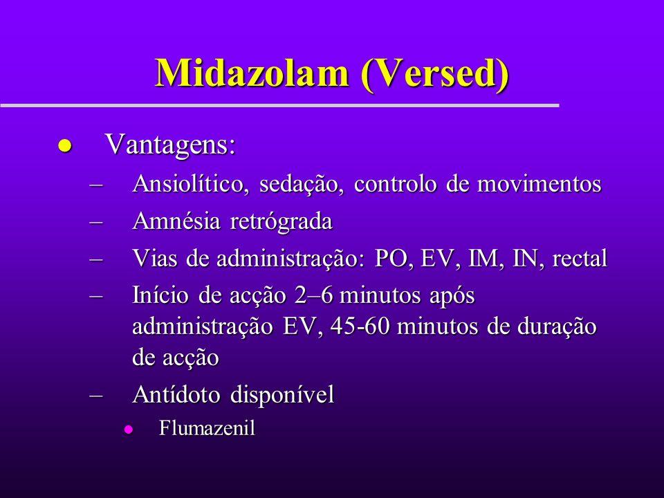 Midazolam (Versed) Vantagens: