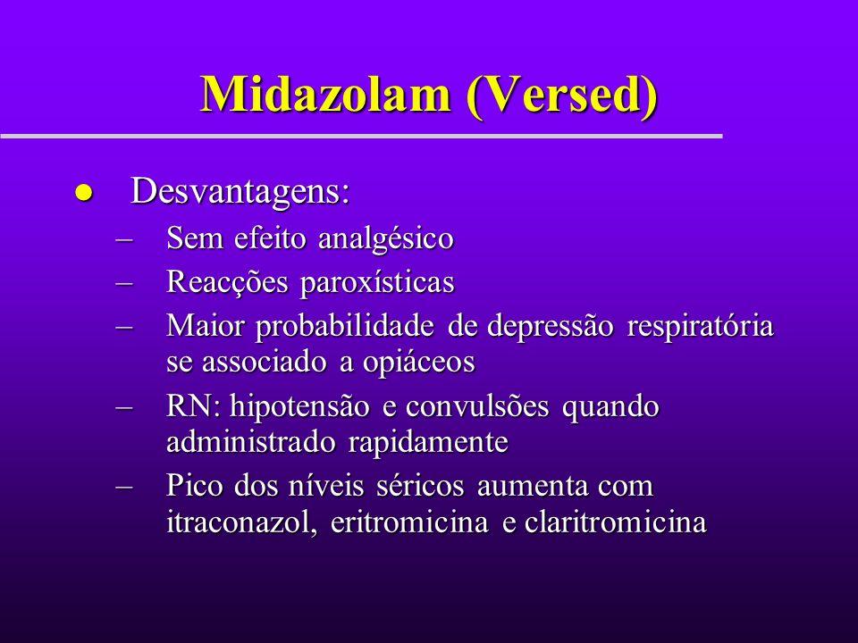 Midazolam (Versed) Desvantagens: Sem efeito analgésico