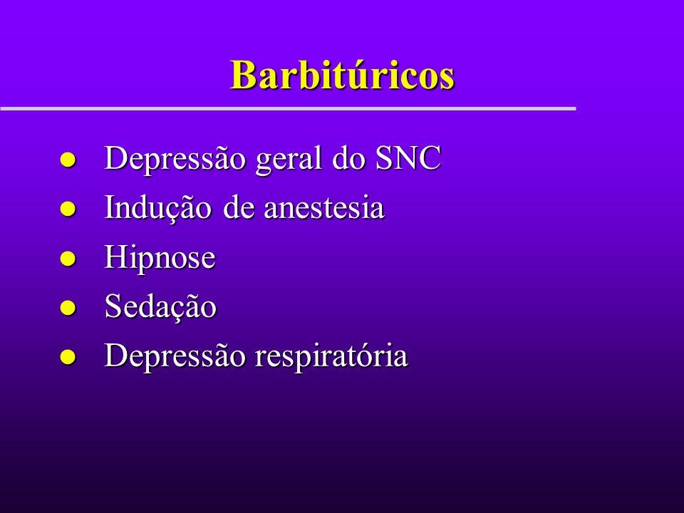 Barbitúricos Depressão geral do SNC Indução de anestesia Hipnose