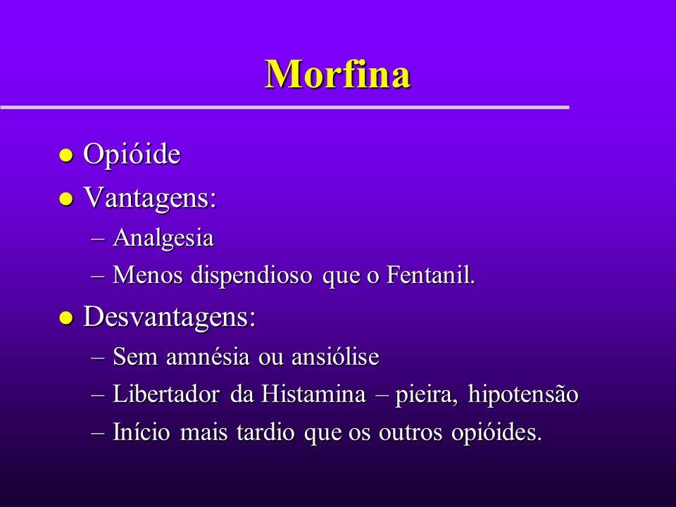Morfina Opióide Vantagens: Desvantagens: Analgesia