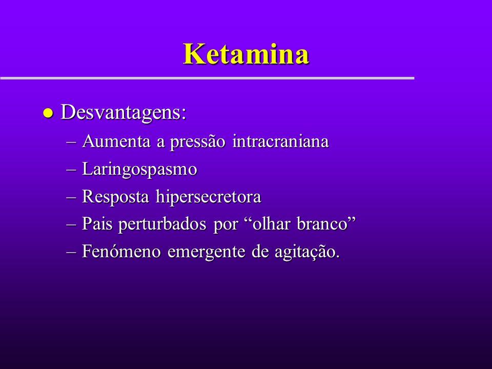Ketamina Desvantagens: Aumenta a pressão intracraniana Laringospasmo