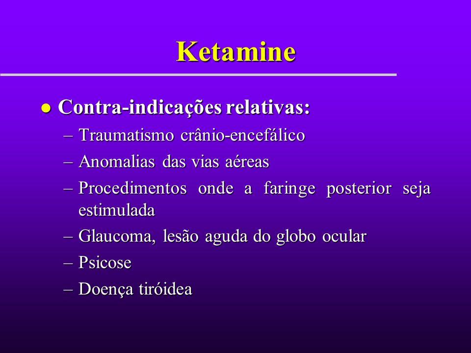 Ketamine Contra-indicações relativas: Traumatismo crânio-encefálico