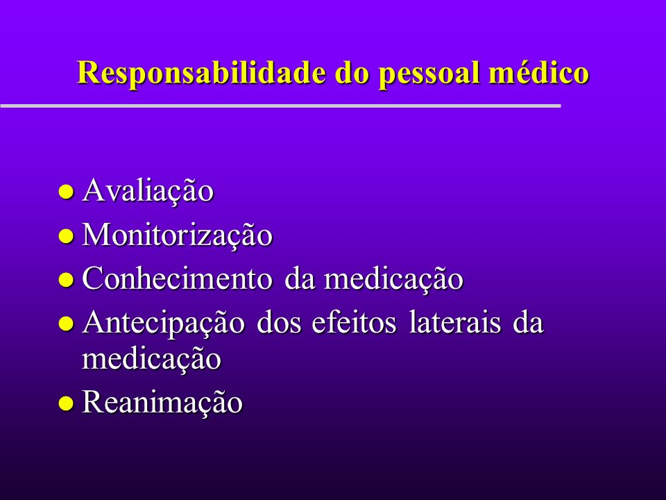 Responsabilidade do pessoal médico