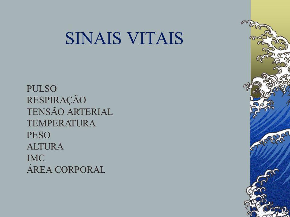 SINAIS VITAIS PULSO RESPIRAÇÃO TENSÃO ARTERIAL TEMPERATURA PESO ALTURA