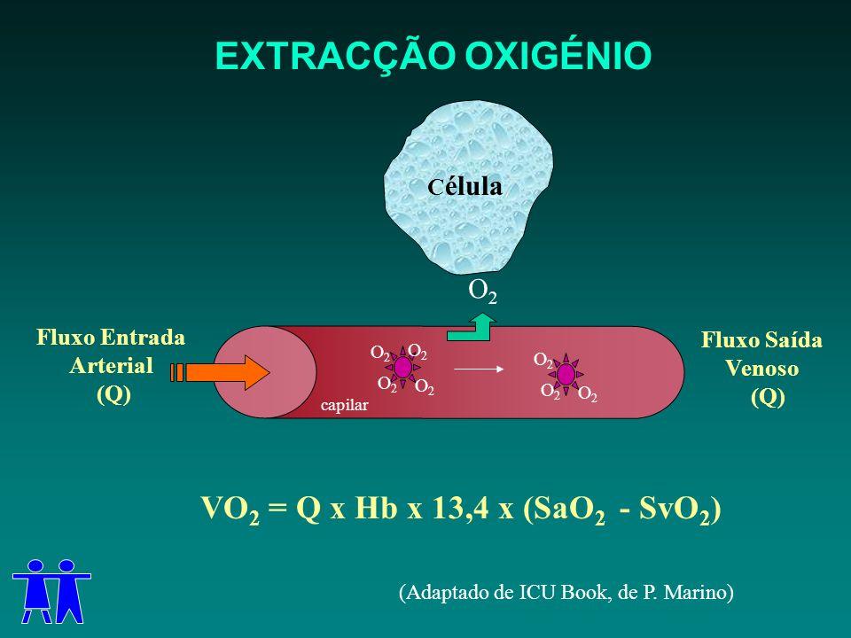 EXTRACÇÃO OXIGÉNIO VO2 = Q x Hb x 13,4 x (SaO2 - SvO2) O2 Célula
