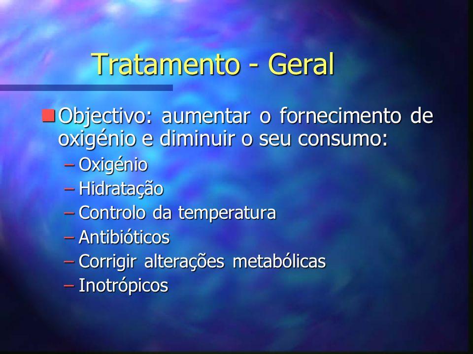 Tratamento - Geral Objectivo: aumentar o fornecimento de oxigénio e diminuir o seu consumo: Oxigénio.